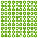 100 camping and nature icons hexagon green. 100 camping and nature icons set in green hexagon isolated vector illustration Stock Photos