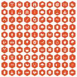 100 camping and nature icons hexagon orange. 100 camping and nature icons set in orange hexagon isolated vector illustration Stock Photo