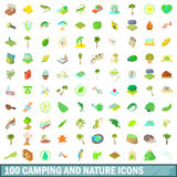 100 camping and nature icons set, cartoon style. 100 camping and nature icons set in cartoon style for any design vector illustration royalty free illustration