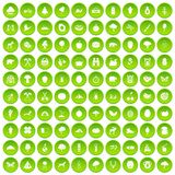 100 camping and nature icons set green circle. Isolated on white background vector illustration Vector Illustration