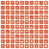 100 camping and nature icons set grunge orange. 100 camping and nature icons set in grunge style orange color isolated on white background vector illustration Stock Photos