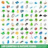 100 camping nature icons set, isometric 3d style Royalty Free Stock Photo