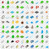 100 camping nature icons set, isometric 3d style. 100 camping nature icons set in isometric 3d style for any design vector illustration Royalty Free Stock Photos