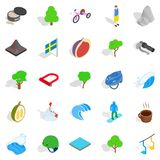 Camping in nature icons set, isometric style Stock Photography