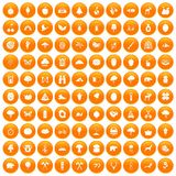 100 camping and nature icons set orange. 100 camping and nature icons set in orange circle isolated on white vector illustration royalty free illustration