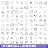 100 camping and nature icons set, outline style Royalty Free Stock Photography