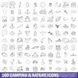 100 camping and nature icons set, outline style. 100 camping and nature icons set in outline style for any design illustration vector illustration