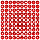 100 camping and nature icons set red. 100 camping and nature icons set in red circle isolated on white vector illustration Royalty Free Stock Photography
