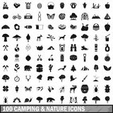 100 camping and nature icons set in simple style Stock Photo