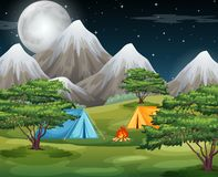 Camping in he nature. Illustration royalty free illustration