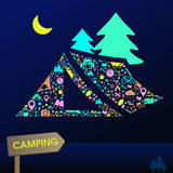 Camping and nature leisure activity infographic background. Camping and outdoor nature leisure activity s infographic background template layout in tent icon Stock Photography