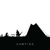 Camping nature with man and child illustration in black color Royalty Free Stock Images