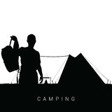 Camping in nature man silhouette in black illustration Stock Images