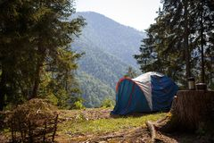 Camping in nature, in the mountains of Georgia, Borjomi in summer royalty free stock photo