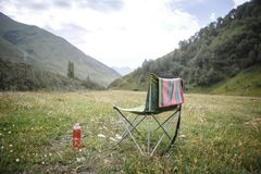 Camping in nature, in the mountains of Georgia, Borjomi in summer stock photos