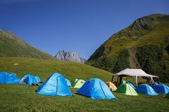 Camping in nature, in the mountains of Georgia, Borjomi in summer stock photography