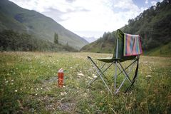 Camping in nature, in the mountains of Georgia, Borjomi in summer royalty free stock photography