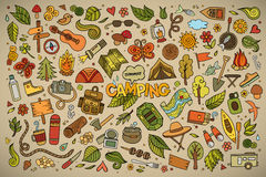 Camping nature symbols and objects Royalty Free Stock Image