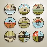 Camping and nature labels set. Camping and nature vector labels set Stock Photo