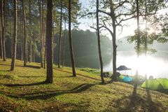 Camping near lake with Sunrise at Pang-ung, Mae Hong Son. Camping near lake with Sunrise at Pang-ung, Mae Hong Son, North of Thailand royalty free stock photography