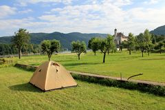 Camping near Schonbuhel Castle Royalty Free Stock Images