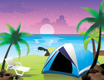 Camping near the sea. In the night Stock Image