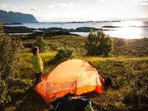 Camping near seaside. In Norway stock image