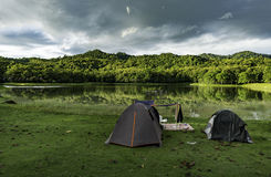 Camping near small lake in National park Royalty Free Stock Photo