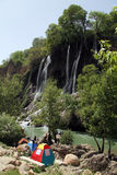 Camping near waterfall Stock Photos