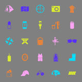 Camping necessary color icons on gray background. Stock vector Stock Photos