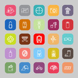 Camping necessary line flat icons Royalty Free Stock Images