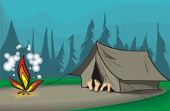Camping at night. An illustration of two tourists rest in a tent Royalty Free Stock Images