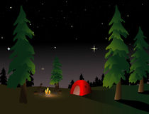 Camping at Night. Camping in the wilderness under a summer night sky Royalty Free Stock Photography