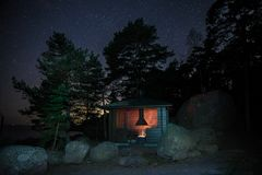 Camping at night in Finland royalty free stock photo