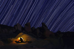 Camping at Night in Joshua Tree Park Royalty Free Stock Photos
