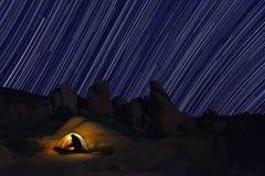 Camping at Night in Joshua Tree Park Royalty Free Stock Photos