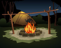 Camping night scene with bonfire. Camping night scene with teapot on bonfire Royalty Free Stock Photos