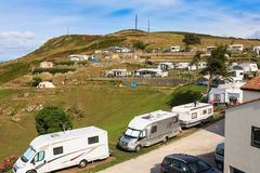 Camping in the north of Spain. Camping on a mountain in the north of Spain stock images