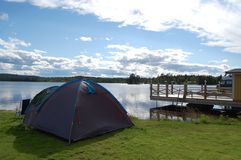 Camping in the north of Sweden. Lovely camping outside Vilhlminain Jämtland Royalty Free Stock Photo