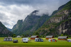Camping at norwegian fjord with mountains background, Eidfjord. Royalty Free Stock Photography