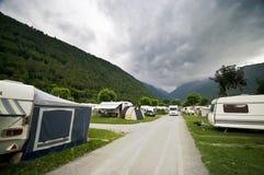 Camping nublado Foto de archivo libre de regalías