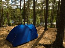 Camping in Nuuksio National Park, Finland. Wild camping in the forests of Nuuksio National Park, Espoo, Finland stock image