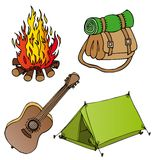 Camping objects collection 1 stock illustration