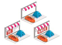 Camping online 3d isometric vector illustration. Camping online vector illustration. 3d isometric inflatable boat and tent on laptop keyboard. Online shopping, e Royalty Free Stock Image