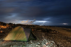 Camping out in the Storm Royalty Free Stock Image