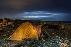 Camping out in the Storm Royalty Free Stock Photos
