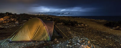 Camping out in the Storm Stock Photography
