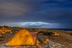 Camping out in the Storm Stock Images