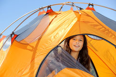 Camping out in Tent Stock Image