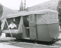 Camping out in trailer Stock Photo